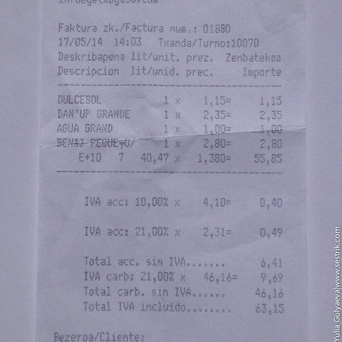 сколько в испании стоит бензин