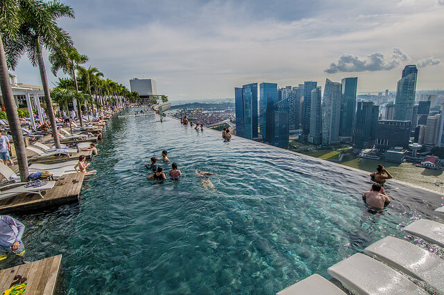бассейн на крыше отеля марина бэй