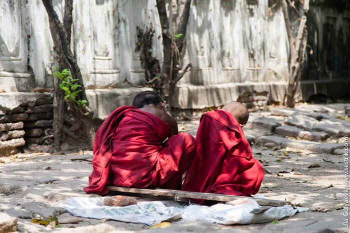 юные буддийские монахи