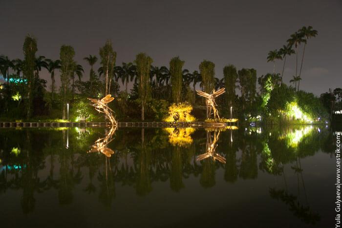 огни ночного города сингапура