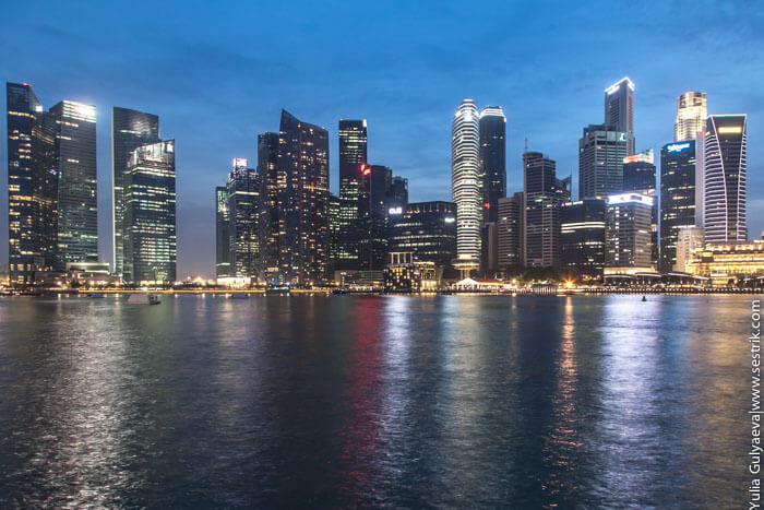 вид на ночной сингапур