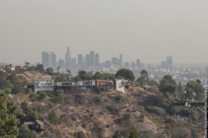 вид на центр лос анджелеса с голливудских холмов