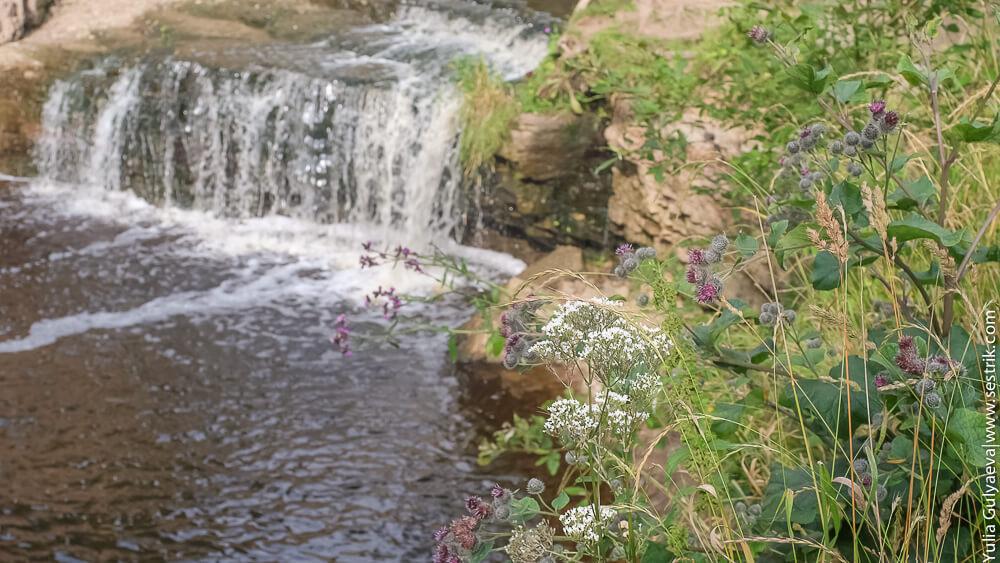 берег вокруг водопада