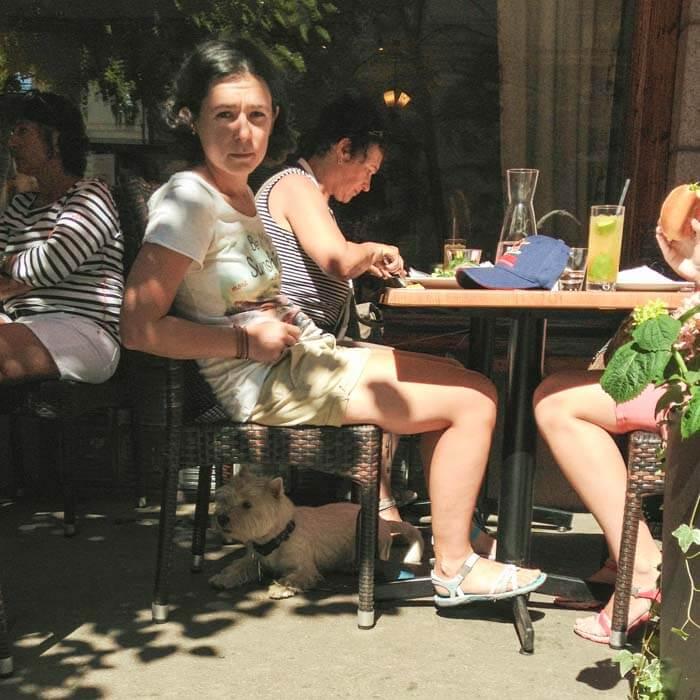 в кафе Экберг на террасе с собакой