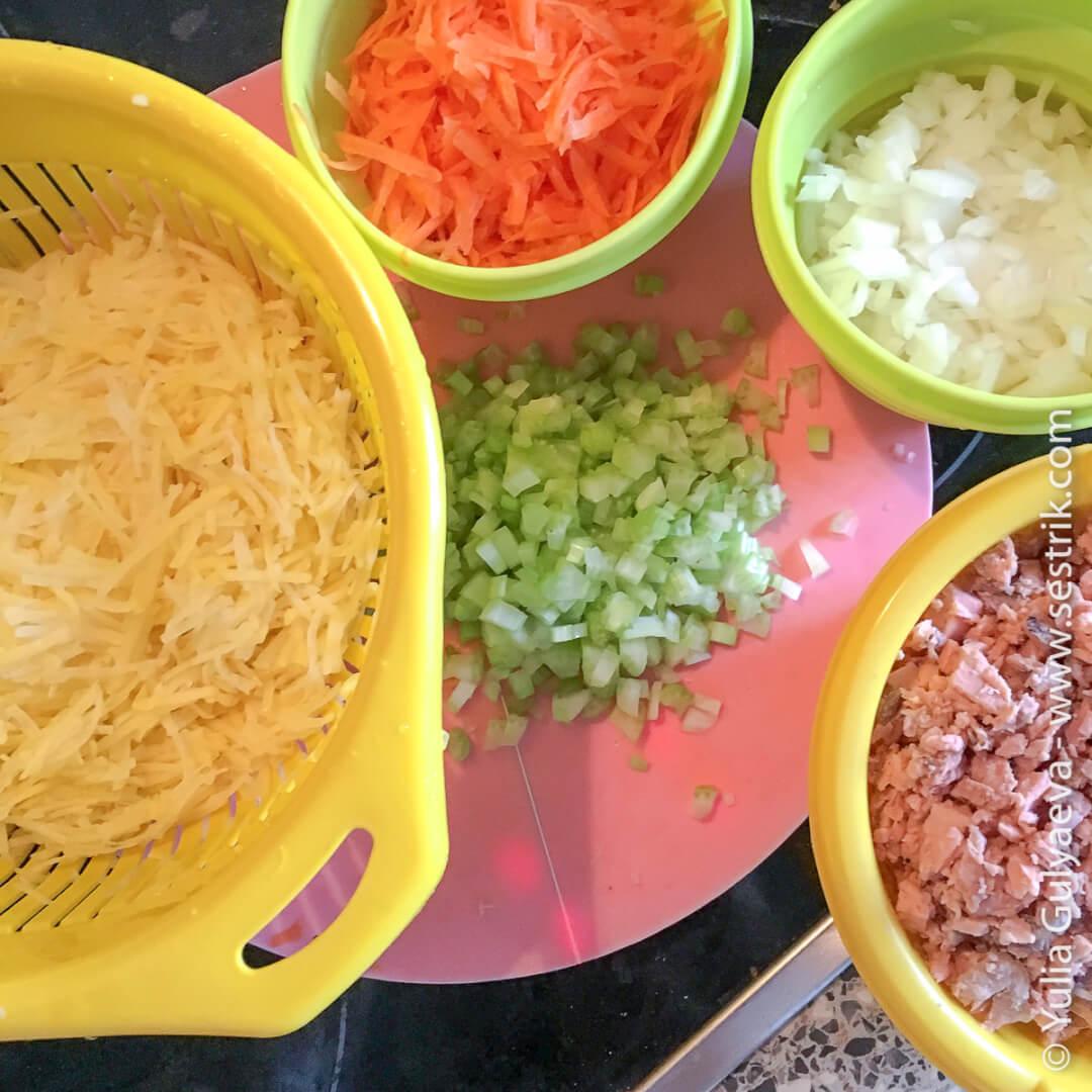 набор овощей для рыбного супа