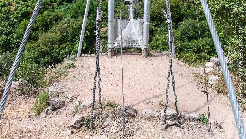 как крепится подвесной мост
