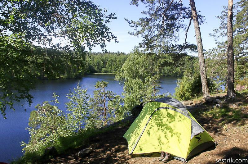 с палаткой на озеро Ястребиное