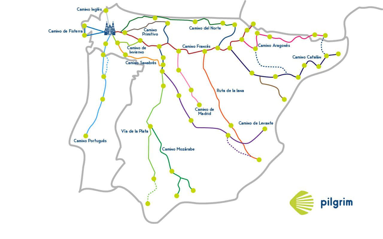 Все маршруты пути Сантьяго на карте