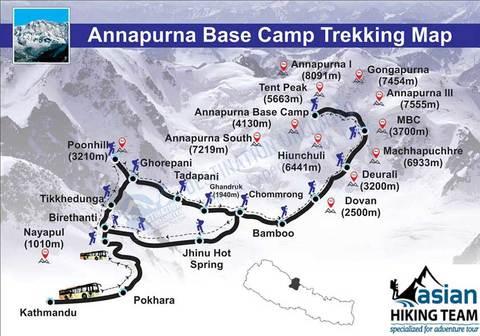 Карта трека к базовому лагерю Аннапурны