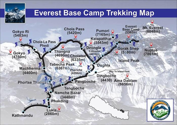 Карта трека к базовому лагерю Эвереста