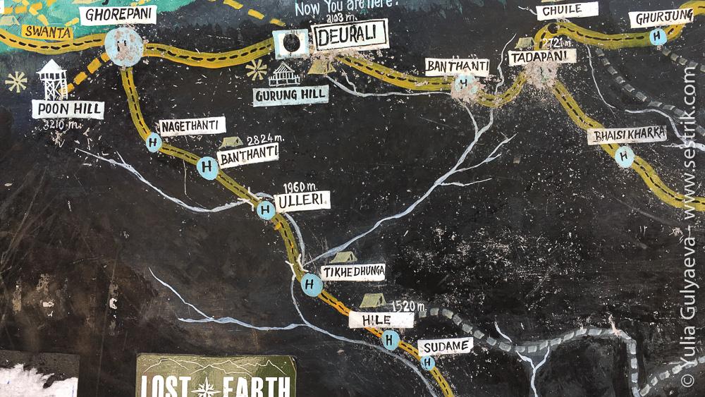 Карта района вокруг перевала Деурали