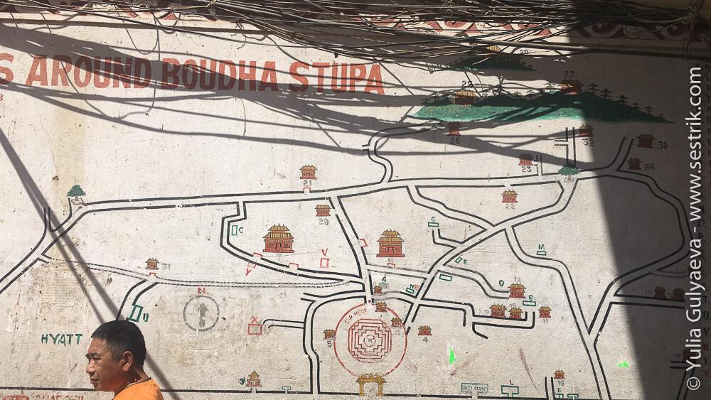 карта района вокруг ступы Боуднатх