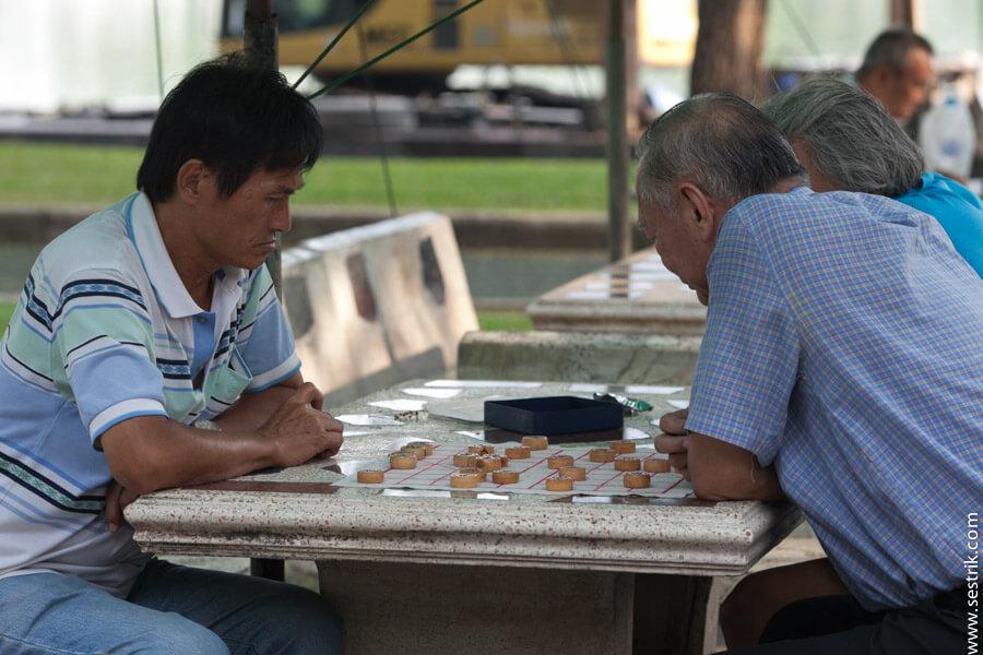 игра в шашки в парке